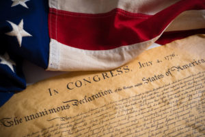 Declaration of Independence and Flag