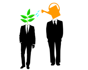 Cartoon of two men-one a watering can one a plant